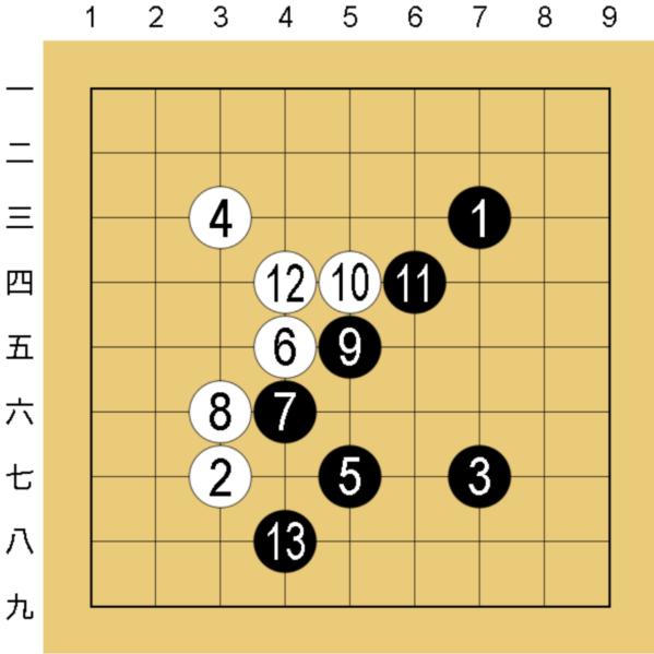 囲碁9路盤の棋譜